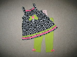 "NEW """"LIME GIRAFFE"""" Capri Pants Girls Clothes 12m Spring Summer Boutique Baby"