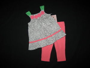 "NEW """"CORAL ZEBRA"""" Capri Pants Girls Clothes 18m Spring Summer Boutique Baby"