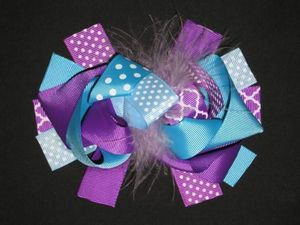 "NEW """"Purple & Aqua QUATREFOIL"""" Fur Hairbow Alligator Clips Girls Ribbon Bows"