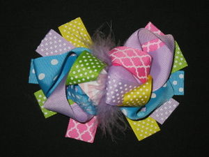 "NEW """"QUATREFOIL & DOTS"""" Fur Hairbow Alligator Clips Girls Ribbon Bows 5.5 Inch"