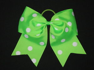 "NEW """"POLKA-DOT NEON GREEN"""" Cheer Bow Pony Tail 3"""" Ribbon Girls Hair Cheerleading"