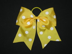 "NEW """"POLKA-DOT YELLOW"""" Cheer Bow Pony Tail 3 Inch Ribbon Girls Hair Cheerleading"