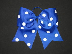 "NEW """"POLKA-DOT ROYAL BLUE"""" Cheer Bow Pony Tail 3"""" Ribbon Girls Hair Cheerleading"