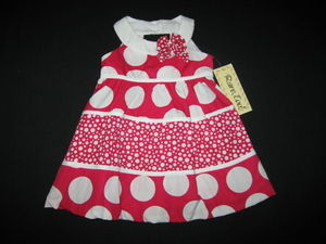 "NEW """"FUSHIA CIRCLES"""" Dress Girls Clothes 6-9m Spring Summer Boutique Baby Outfit"