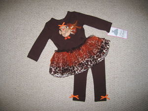 "NEW """"TURKEY FEATHERS"""" Thanksgiving Pant Girls 6m Fall Winter Clothes Baby Fancy"