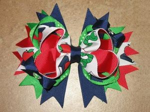 "NEW """"Apple & Bookworm"""" Hairbow Grosgrain Ribbon Hair Bow Alligator Clip Girls"