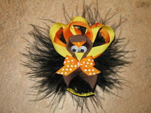"NEW ""MARABOU TURKEY"" Ribbon Sculpture Girls Hairbow Clip Clippie Bow Boutique Fall Thanksgiving Day Fur"