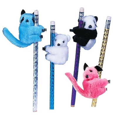 "NEW 4 pc ""Panda Bear Raccoon"" Pencil Huggers Furry Animal Birthday Party Favors Stethoscope Clip On Decoration"