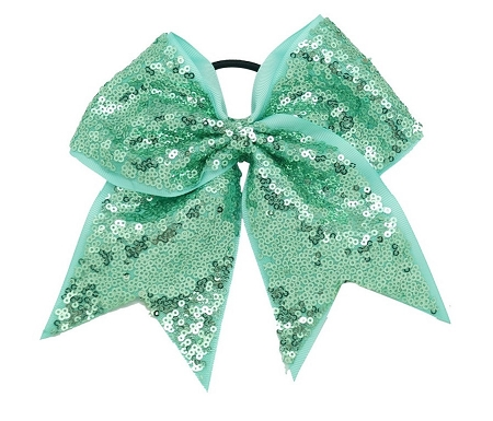 "New ""FANCY SEQUIN Mint Green"" Cheer Bow Pony Tail 3"" Ribbon Girls Hair Bows Cheerleading Dance Practice Football Games Competition Birthday"