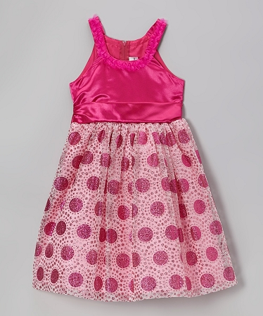 "NEW ""FUSHIA GLITTER CIRCLES"" Dress Girls 6 Fall Winter Clothes Holiday Christmas Easter Party Rare Editions"