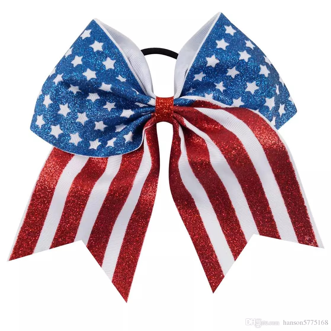 "New ""GLITTER AMERICAN FLAG"" Cheer Hair Bow Pony Tail 3"" Ribbon Cheerleading Practice Football Games Uniform Hairbow 4th of July Patriotic Stars & Stripes"