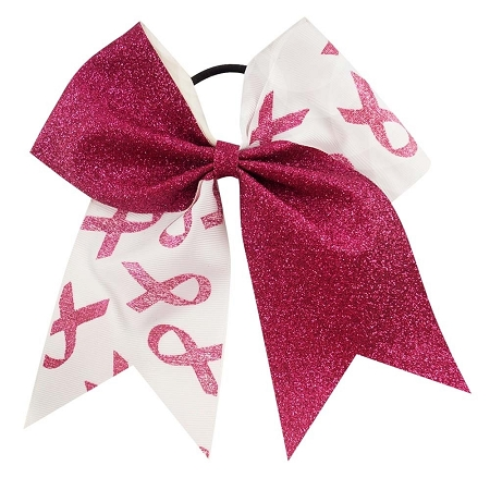 "NEW ""GLITTER BREAST CANCER Ribbon"" Cheer Hair Bow Pony Tail 3 Inch Girls Cheerleading Practice Games School Uniform Hairbow Awareness Event Pink Out Game"