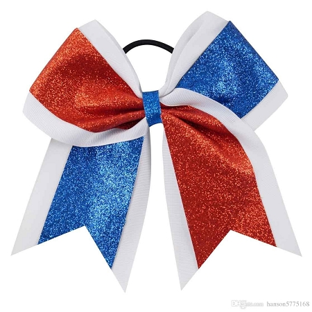 "New ""GLITTER DUO Red & Blue"" Cheer Bow Pony Tail 3"" Ribbon Girls Hair Bows Cheerleading Dance Practice Football Games Competition Birthday America 4th of July"