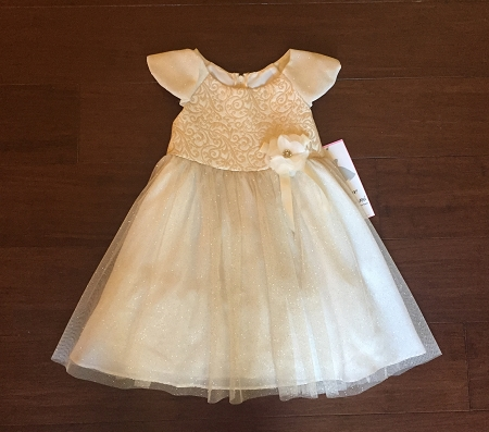 "NEW ""CHAMPAGNE GOLD ROSE"" Dress Girls Baby 5 Christmas Boutique Clothes Holiday Rare Editions Flower Girl"