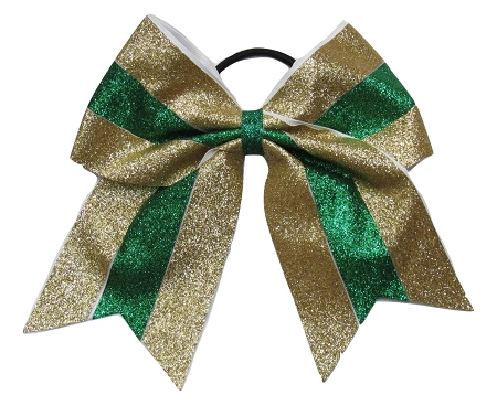 "New ""GLITTER Gold & Green"" Cheer Bow Pony Tail 3"" Ribbon Girls Hair Bows Cheerleading Dance Practice Football Games Competition Birthday Christmas"