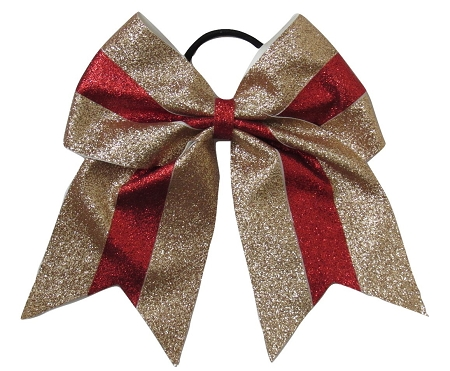 "New ""GLITTER Gold & Red"" Cheer Bow Pony Tail 3"" Ribbon Girls Hair Bows Cheerleading Dance Practice Football Games Competition Birthday Christmas"