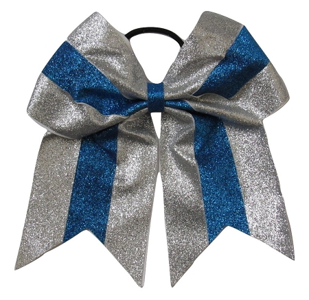 "New ""GLITTER Silver & Blue"" Cheer Bow Pony Tail 3"" Ribbon Girls Hair Bows Cheerleading Dance Practice Football Games Competition Birthday Christmas"