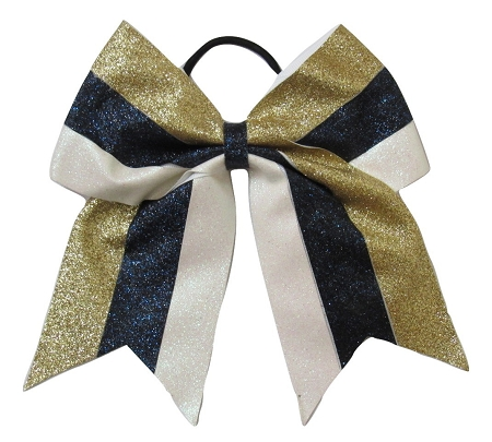 "New ""GLITTER Navy Gold White"" Cheer Bow Pony Tail 3"" Ribbon Girls Hair Bows Cheerleading Dance Practice Football Games Competition Birthday Christmas"