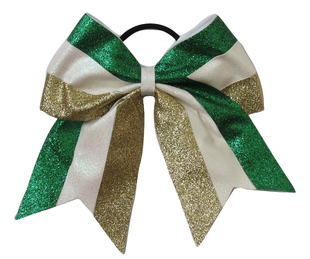 "New ""GLITTER Green White Gold"" Cheer Bow Pony Tail 3"" Ribbon Girls Hair Bows Cheerleading Dance Practice Football Games Competition Birthday Christmas"