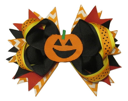 "NEW ""JACK-O-LANTERN"" Alligator Clips Girls Ribbon Hair Bows Halloween Pumpkin Fall Festival"