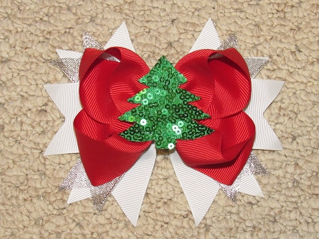 "NEW ""SEQUIN CHRISTMAS TREE"" Alligator Clips Girls Ribbon Hair Bows Holiday Party Boutique"