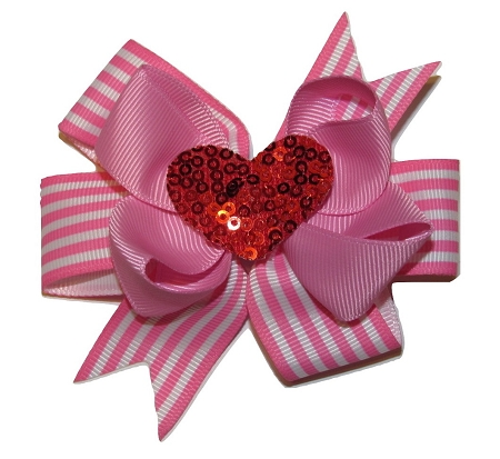 "NEW ""SEQUIN HEART"" Valentine's Day Ribbon Hair Bow Alligator Clip Girls Love Holiday Over the Top"