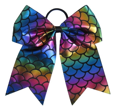"NEW ""MERMAID FOIL Black"" Cheer Bow Pony Tail 3"" Ribbon Hair Bows Cheerleading Dance Rainbow Competition Birthday"