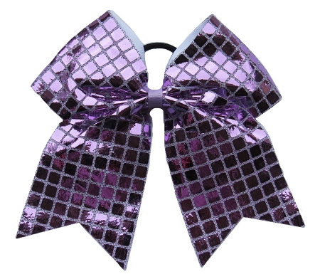 "New ""DISCO SQUARES Lilac Purple"" Cheer Bow Pony Tail 3"" Ribbon Girls Hair Bows Cheerleading Dance Practice Football Games Competition Birthday"