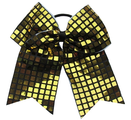 "New ""DISCO SQUARES Gold"" Cheer Bow Pony Tail 3"" Ribbon Girls Hair Bows Cheerleading Dance Practice Football Games Competition Birthday"
