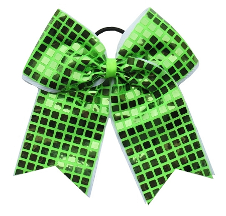 "New ""DISCO SQUARES Lime Green"" Cheer Bow Pony Tail 3"" Ribbon Girls Hair Bows Cheerleading Dance Practice Football Games Competition Birthday"