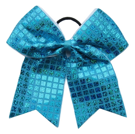 "New ""DISCO SQUARES Aqua Blue"" Cheer Bow Pony Tail 3"" Ribbon Girls Hair Bows Cheerleading Dance Practice Football Games Competition Birthday"