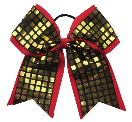 "New ""DISCO SQUARES Gold Red"" Cheer Bow Pony Tail 3"" Ribbon Girls Hair Bows Cheerleading Dance Practice Football Games Competition Birthday"