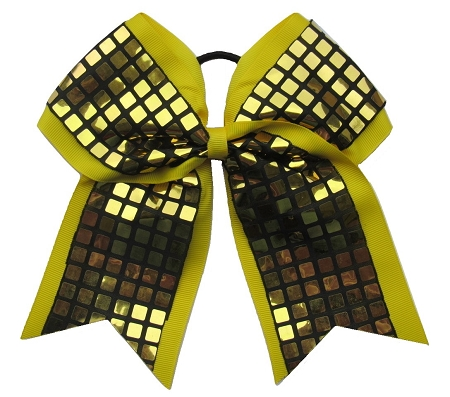 "New ""DISCO SQUARES Gold Yellow"" Cheer Bow Pony Tail 3"" Ribbon Girls Hair Bows Cheerleading Dance Practice Football Games Competition Birthday"