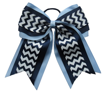"New ""LIGHT BLUE NAVY CHEVRON"" Cheer Hair Bow Pony Tail 3 Inch Ribbon Girls Cheerleading Practice Football Games School Uniform Hairbow Competition"