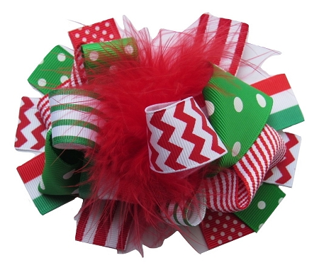 "NEW ""CHEVRON CHRISTMAS"" Fur Hairbow Alligator Clips Girls Ribbon Hair Bows 5.5 Inches Holiday Party Over the Top"