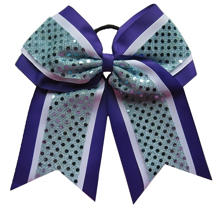 "New ""CONFETTI DOTS Purple Teal"" Cheer Bow Pony Tail 3"" Ribbon Girls Hair Bows Cheerleading Dance Practice Football Games Competition Birthday"