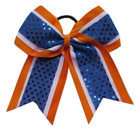 "New ""CONFETTI DOTS Orange Blue"" Cheer Bow Pony Tail 3"" Ribbon Girls Hair Bows Cheerleading Dance Practice Football Games Competition Birthday Auburn Tigers Florida Gators"