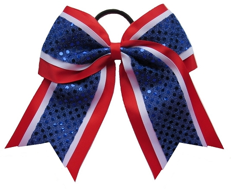 "New ""CONFETTI DOTS Red White Blue"" Cheer Bow Pony Tail 3"" Ribbon Girls Hair Bows Cheerleading Dance Practice Football Games Competition Birthday Atlanta Braves 4th of July Patriotic"