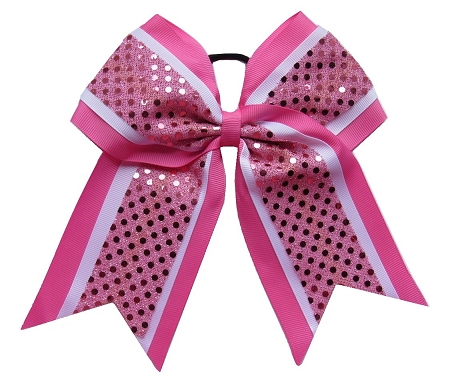 "New ""CONFETTI DOTS Pink White"" Cheer Bow Pony Tail 3"" Ribbon Girls Hair Bows Cheerleading Dance Practice Football Games Competition Birthday"