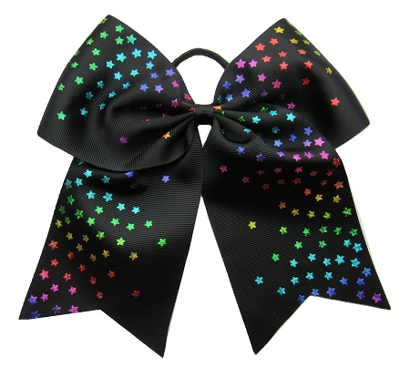 "New ""BLACK RAINBOW STARS"" Cheer Bow Pony Tail 3"" Ribbon Girls Hair Bows Cheerleading Dance Practice Football Games Competition Birthday"