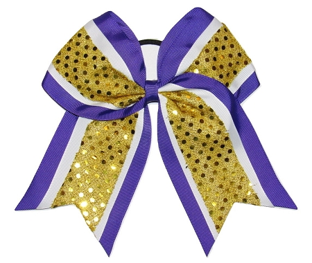 "New ""CONFETTI DOTS Purple Yellow"" Cheer Bow Pony Tail 3"" Ribbon Girls Hair Bows Cheerleading Dance Practice Football Games Competition Birthday LSU Tigers"