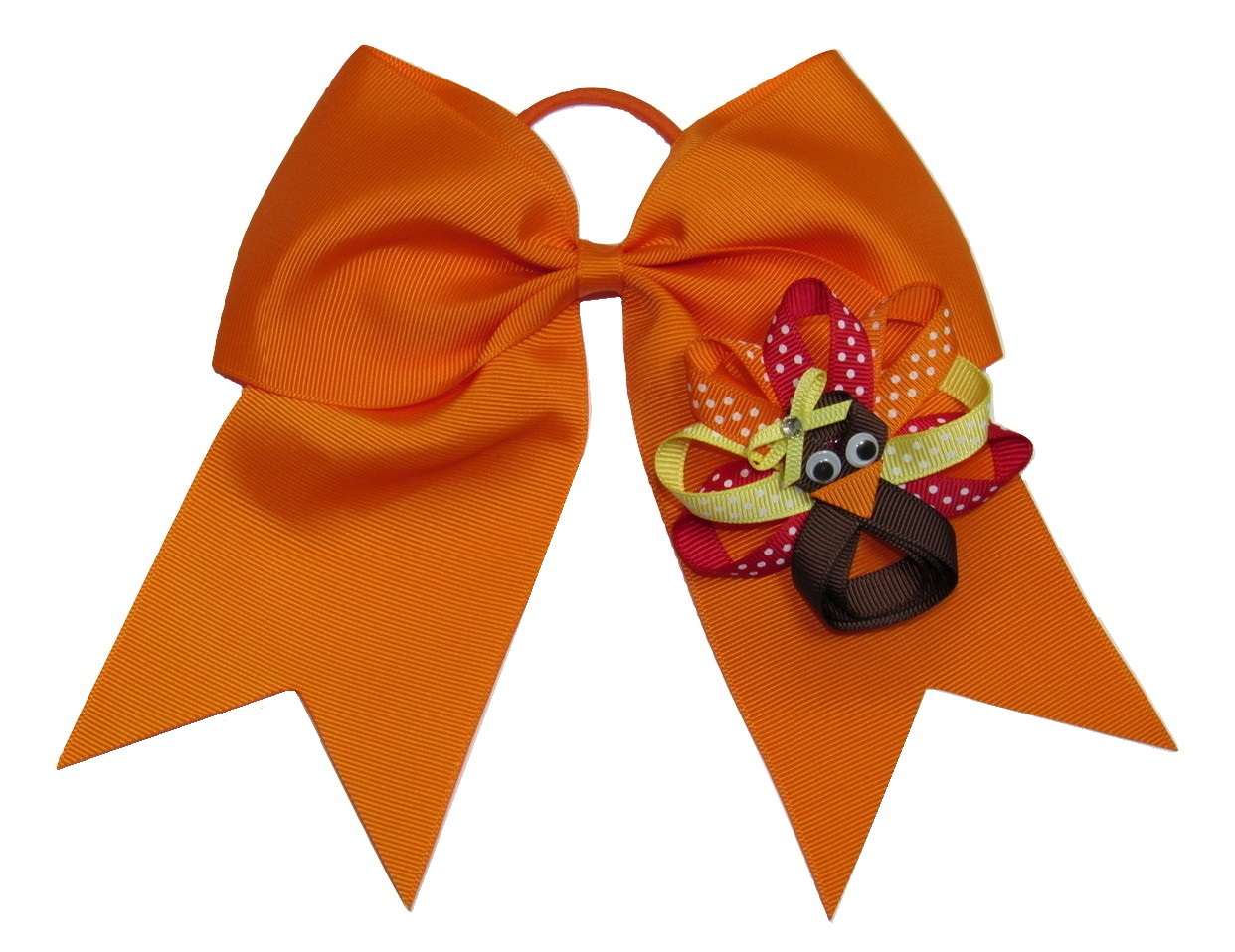 "NEW ""THANKSGIVING TURKEY"" Cheer Bow Pony Tail 3 Inch Ribbon Girls Cheerleading Dance Practice Football Games Fall Festival"
