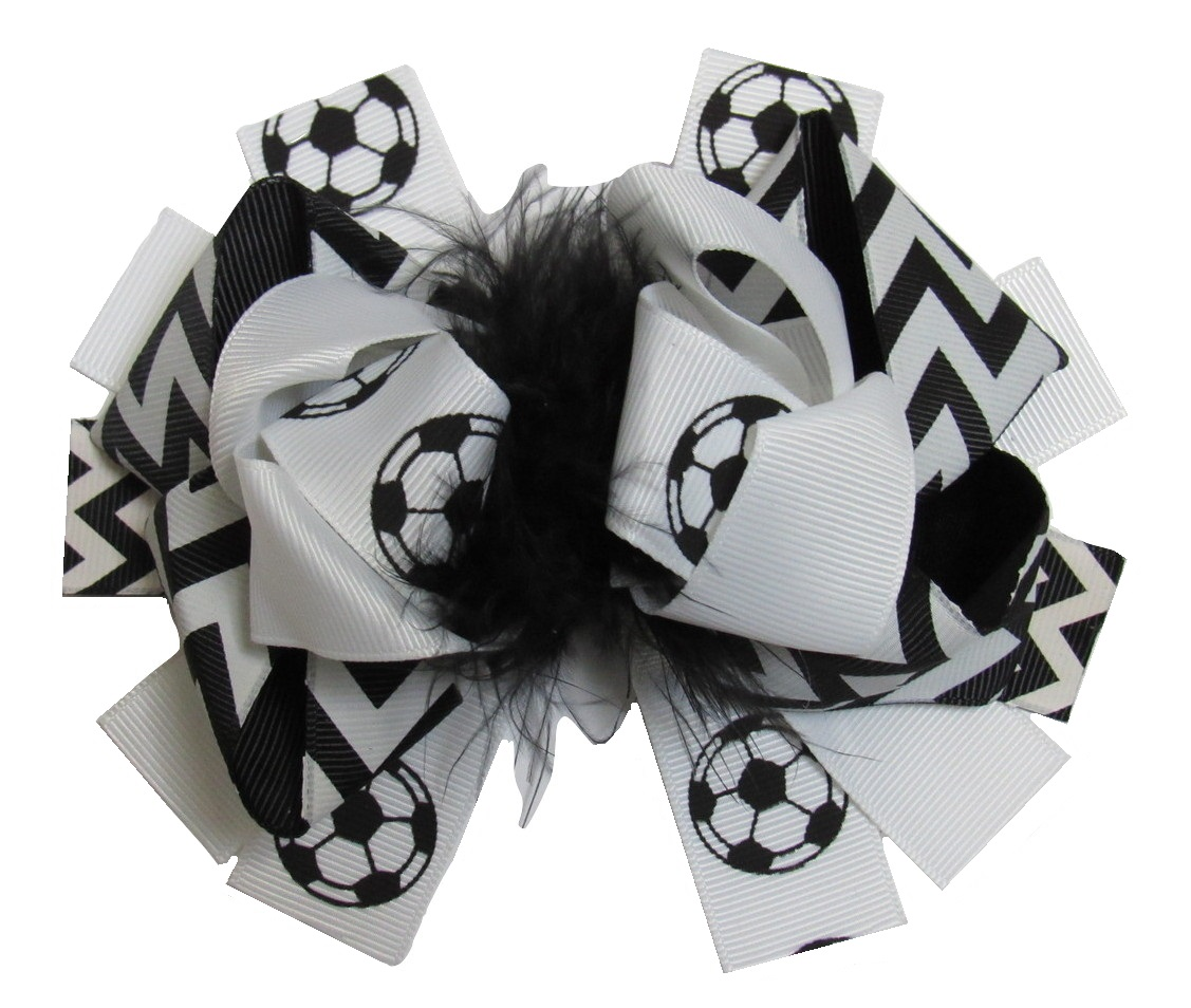 "NEW ""SOCCER BALL"" Fur Hairbow Alligator Clips Girls Ribbon Bows 5.5 Inches Sports Games Birthday Over the Top Brown College"