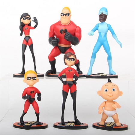 The Incredibles Dash Violet Disney Playset 6 Figure Set Birthday Party Cupcakes Figurines Disney * Fast Shipping * Super Hero Toy Doll Set