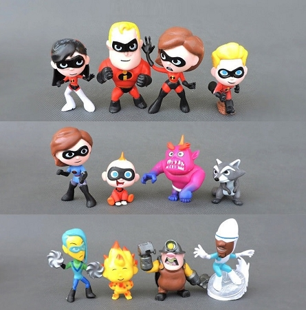 The Incredibles Dash Violet Disney Playset 12 Figure Set Birthday Party Cupcakes Figurines Disney * Fast Shipping * Super Hero Toy Doll Set