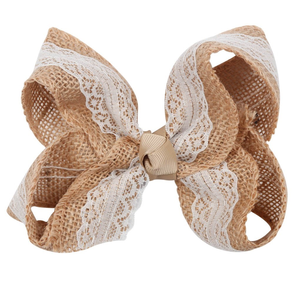 "NEW ""BURLAP & LACE"" Hairbow Alligator Clips Girls Ribbon Hair Bows 5.5 Inches Spring Fall Country Farmhouse Ribbon"
