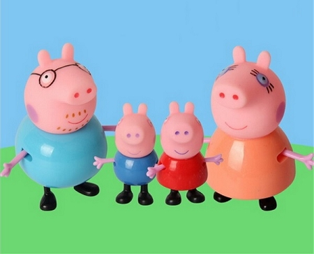 4pc Peppa Pig CAKE TOPPER George Mummy Daddy 4 Figure Set Birthday Party Cupcakes Figurines Toy Set * FAST Shipping * Toy Doll Set