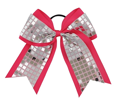 "New ""DISCO SQUARES Silver Pink"" Cheer Bow Pony Tail 3"" Ribbon Girls Hair Bows Cheerleading Dance Practice Football Games Competition Birthday"