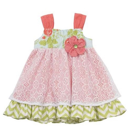 "NEW ""TROPICAL LACE"" Dress Girls Clothes 2T Spring Summer Rare Editions Kids Baby Toddler Beach Sun Dress"