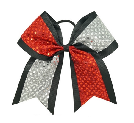 "New ""CONFETTI DOTS Red & Silver"" Cheer Bow Pony Tail 3"" Ribbon Girls Hair Cheerleading Dance Practice Football Games Competition Birthday"